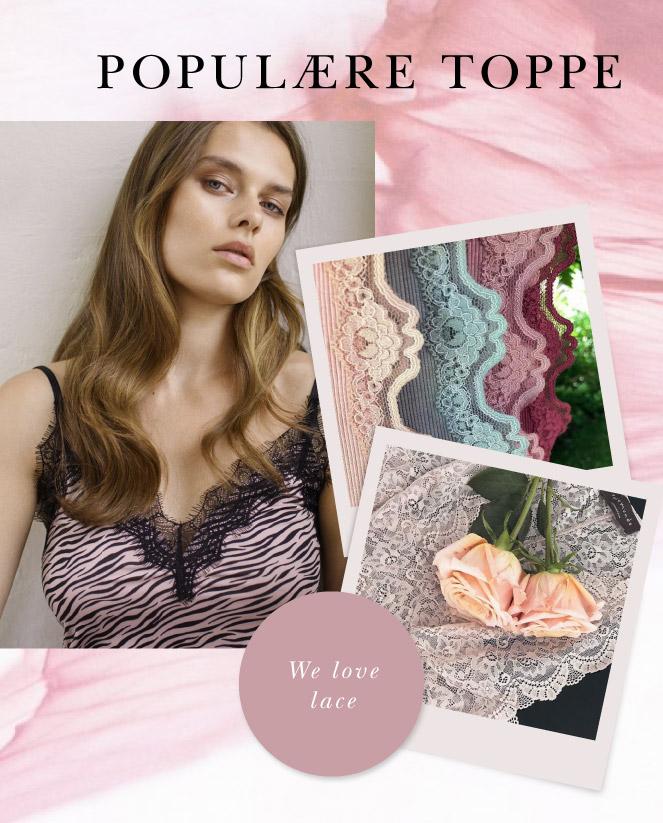 Rosemunde toppe silke og blonder