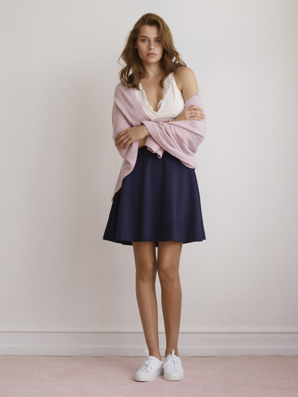 OUR COMFORTABLE SKIRT AND PONCHO MATCHED WITH THE ICONIC SILK TOP CREATES A STUNNING AND ELEVATING LOOK
