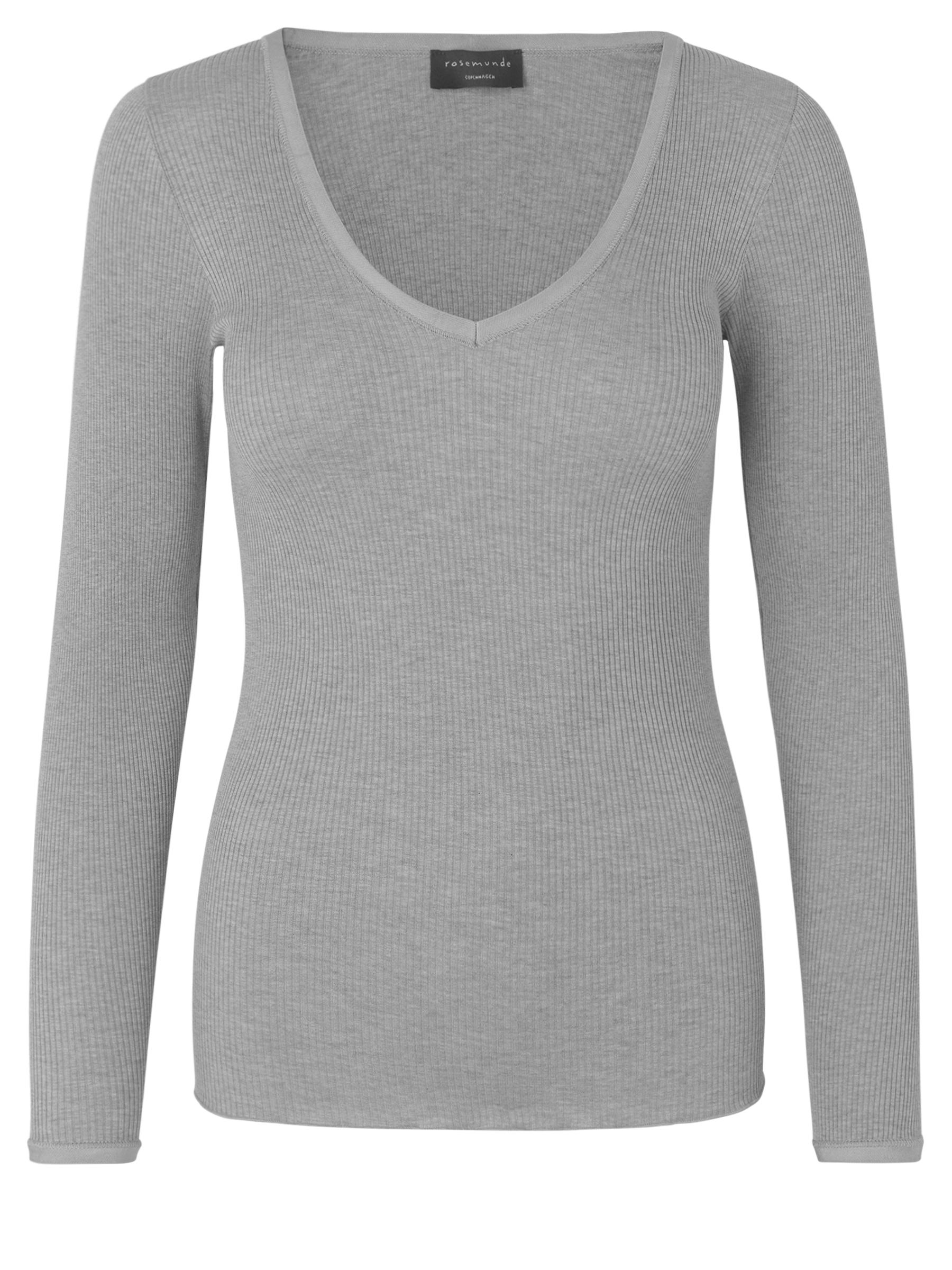 Rosemunde Silk t shirt w. v neck and elastic band