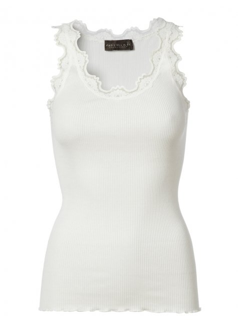 Iconic silk top with lace, New White