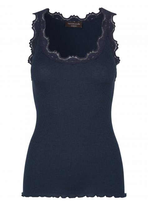 Classic silk top with lace, Dark Navy Melange