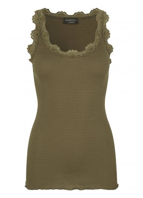 Iconic silk top with lace, military olive