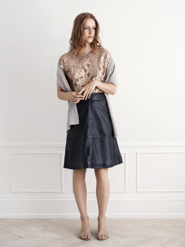 Mix elegant lace with leather and soft cashmere