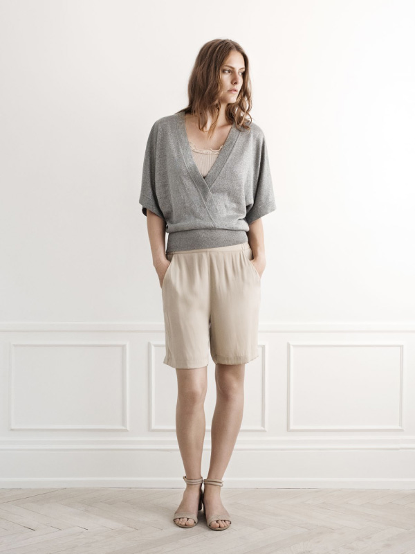 Elegant silk shorts matched with a hint of shimmer