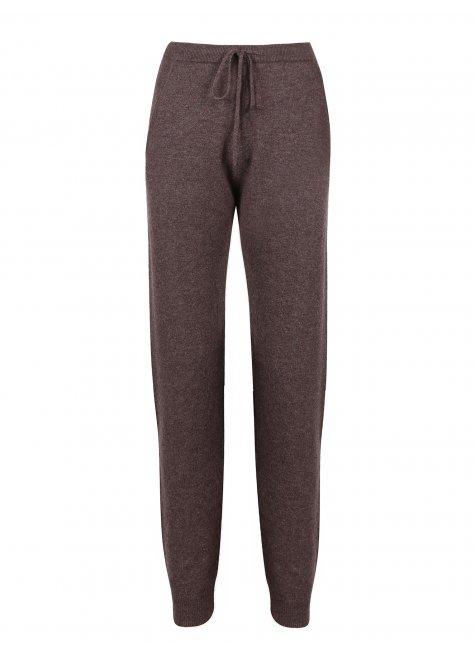 Wool & Cashmere Trousers, dark brown melange